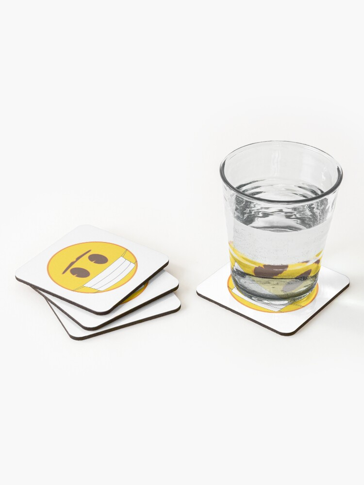 Alternate view of Emoji with mask Coasters (Set of 4)