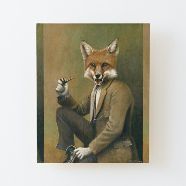Vintage Mr Fox Wood Mounted Print
