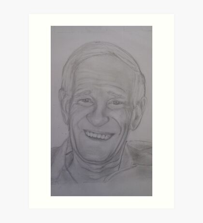 Pencil portrait of an older man Art Print