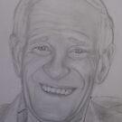 Pencil portrait of an older man by Sue Downey