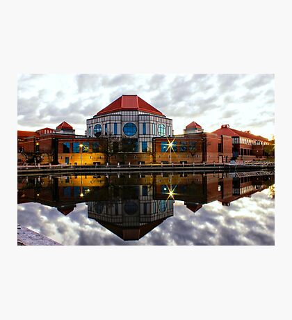 Tuggeranong Library Just on Nightfall stunning reflection Photographic Print