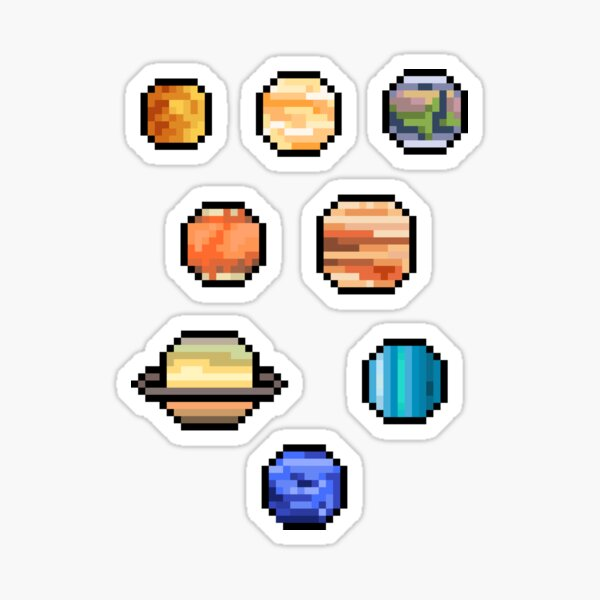 Pixel Planets - Set of 8 Sticker