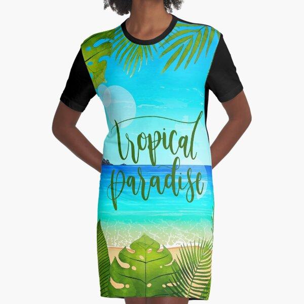 Tropical Paradise Graphic T-Shirt Dress
