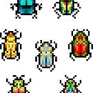 Mini Pixel Beetles - Set of 7 by pixelatedcowboy