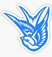 Swallow Tattoo Flash Logo (blue) Sticker