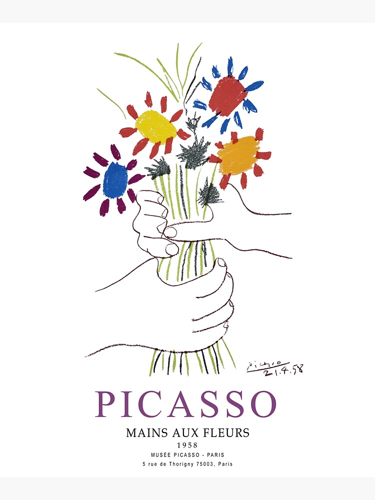 Picasso Exhibition - Mains Aus Fleurs (Hands with Flowers) 1958 Artwork by clothorama