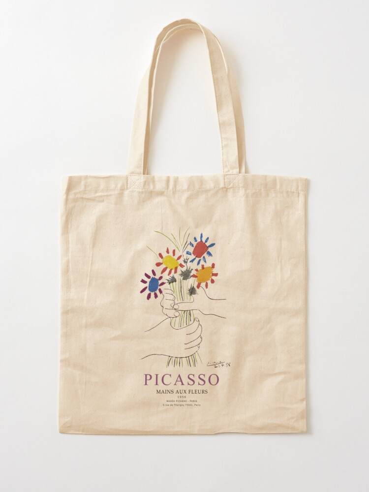 Alternate view of Picasso Exhibition - Mains Aus Fleurs (Hands with Flowers) 1958 Artwork Tote Bag