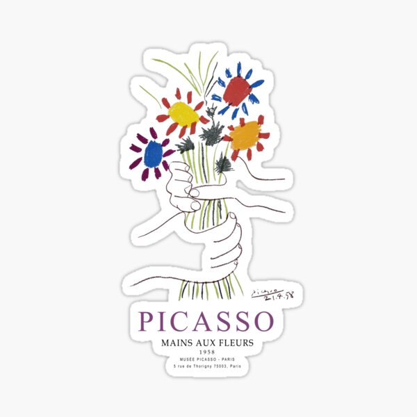 Picasso Exhibition - Mains Aus Fleurs (Hands with Flowers) 1958 Artwork Sticker