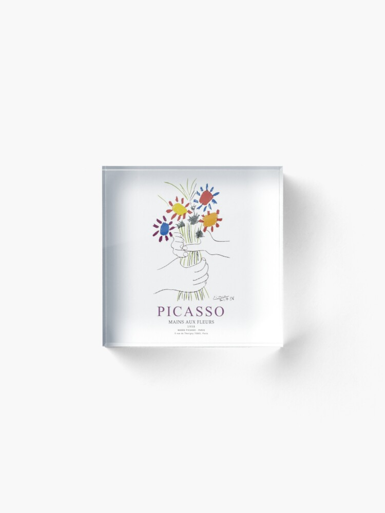 Alternate view of Picasso Exhibition - Mains Aus Fleurs (Hands with Flowers) 1958 Artwork Acrylic Block