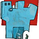 Green Man at a Blue Tower by Jonathan Grauel