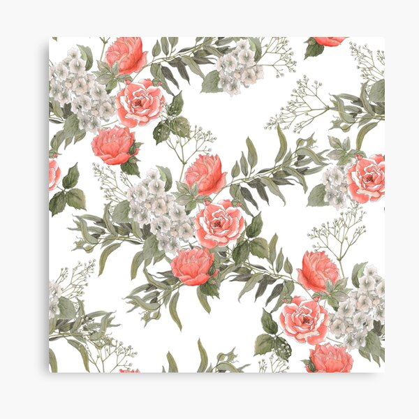A Coral Rose Garden #Porcelain #White Canvas Print