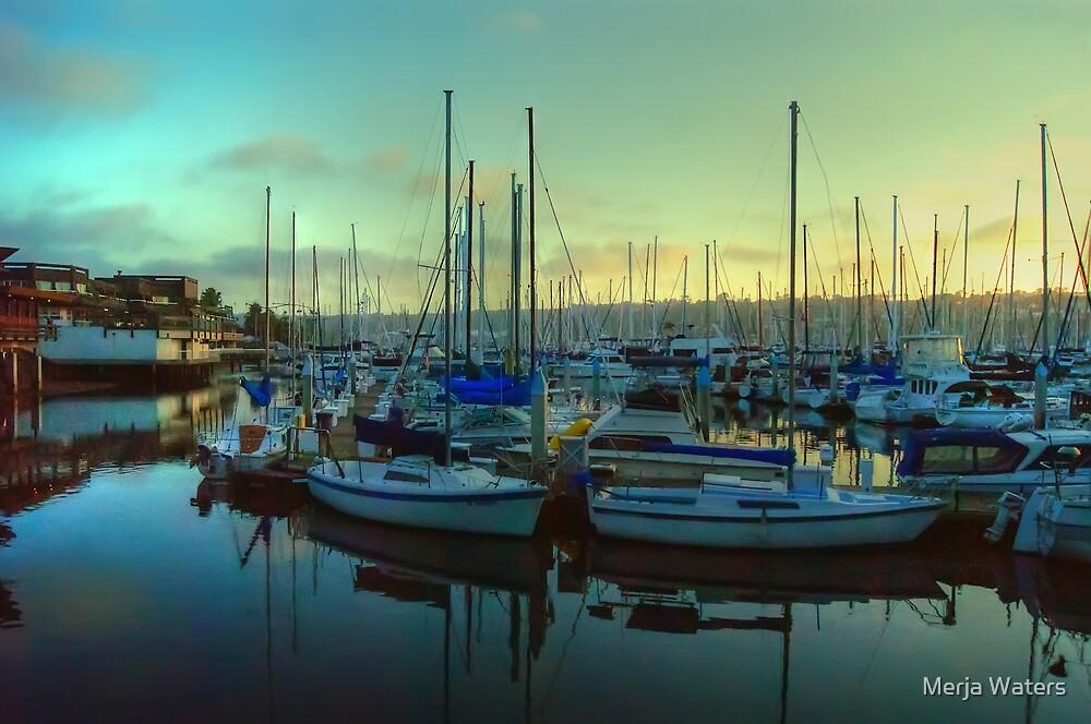 Sunset at Shelter Island Marina by Merja Waters