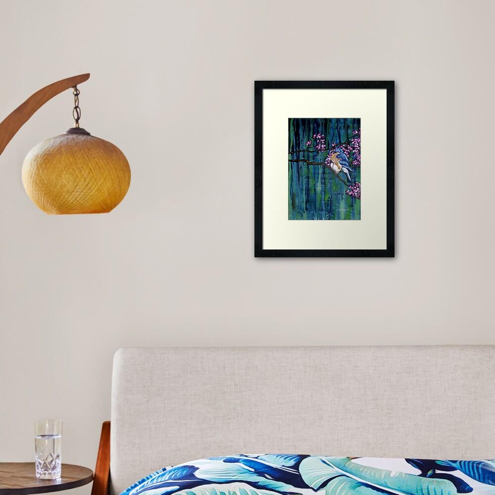 Blossoming Bluebird Framed Art Print