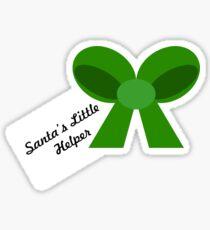 'Santa's Little Helper' Bow (Green) Sticker