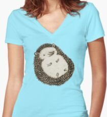 Plump Hedgehog Women's Fitted V-Neck T-Shirt