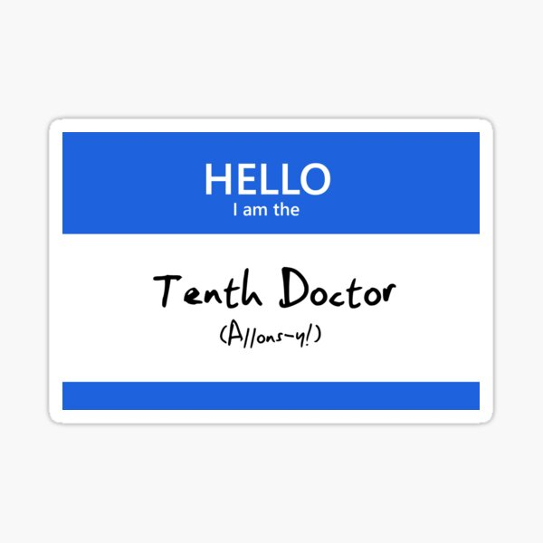 Tenth Doctor Name Tag Sticker