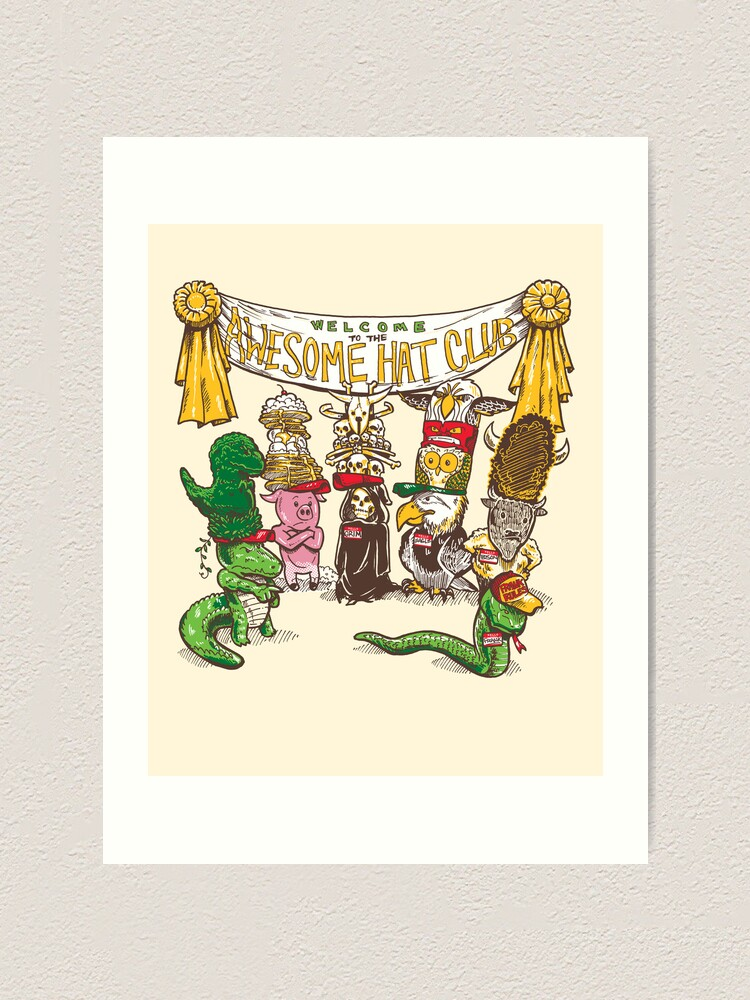 Alternate view of The Awesome Hat Club Art Print