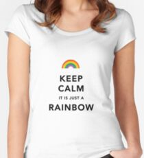 Keep Calm Rainbow on white Women's Fitted Scoop T-Shirt