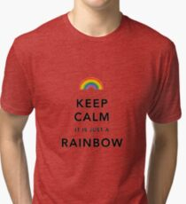 Keep Calm Rainbow on white Tri-blend T-Shirt