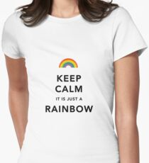 Keep Calm Rainbow on white Women's Fitted T-Shirt