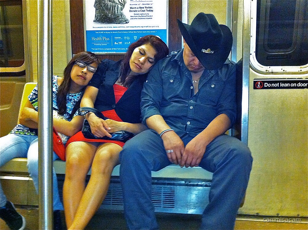 SLEEPING FAMILY ON THE A TRAIN by cammisacam