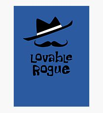 Lovable Rogue - funny vector graphic with mustache and fancy hat Photographic Print