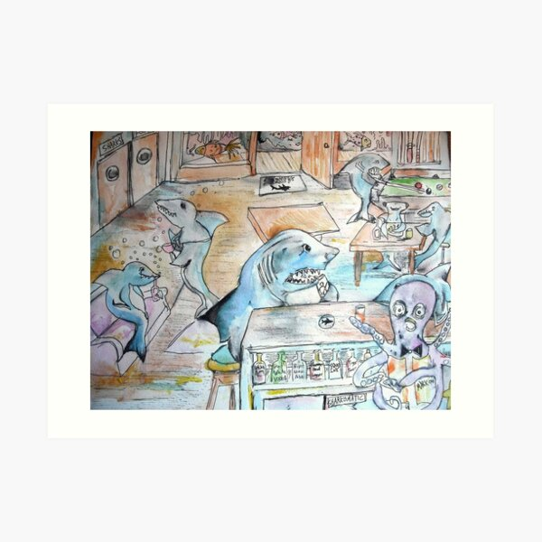 the shark bar Art Print