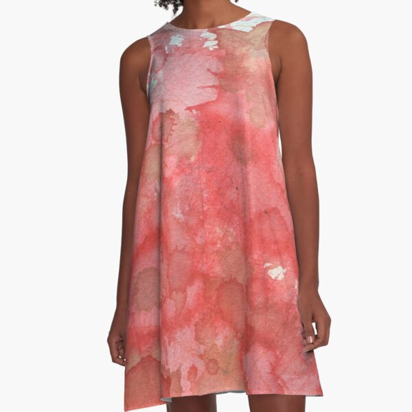 Pink and Blue Watercolour Wash A-Line Dress