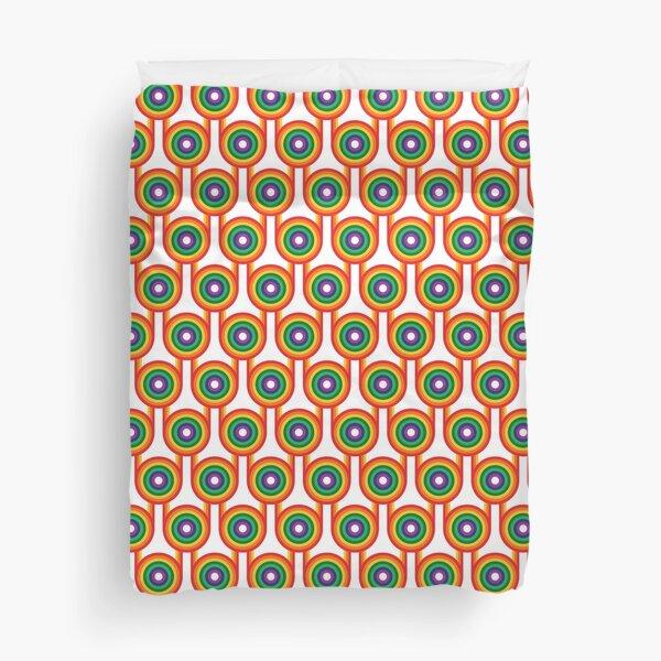 Scandi Midcentury Modern Retro Geometric Rainbow White Pattern Duvet Cover
