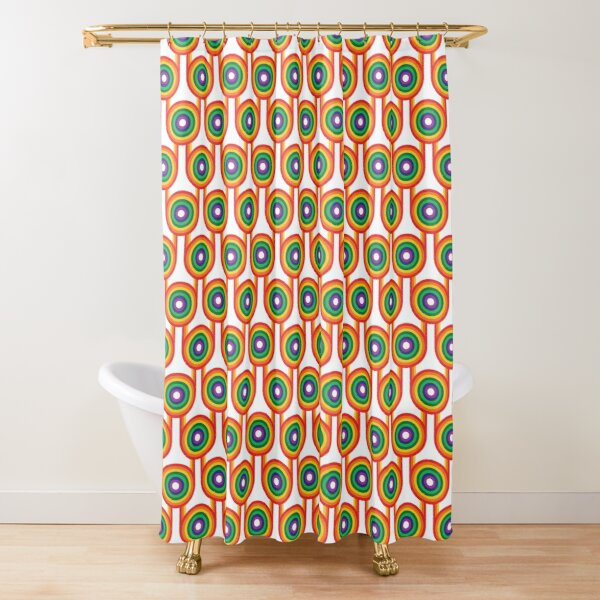 Scandi Midcentury Modern Retro Geometric Rainbow White Pattern Shower Curtain
