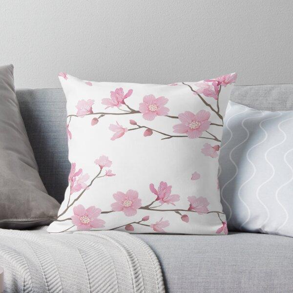 Cherry Blossom - White  Throw Pillow