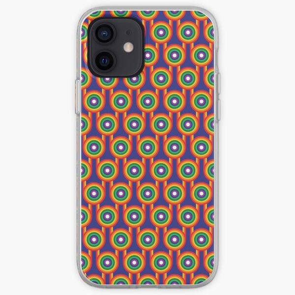 Scandi Midcentury Modern Retro Geometric Rainbow Blue Pattern iPhone Soft Case