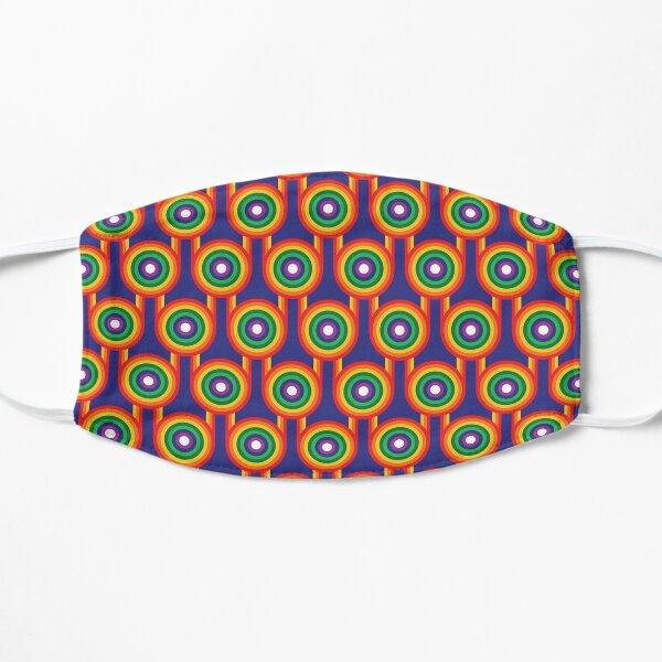 Scandi Midcentury Modern Retro Geometric Rainbow Blue Pattern Mask