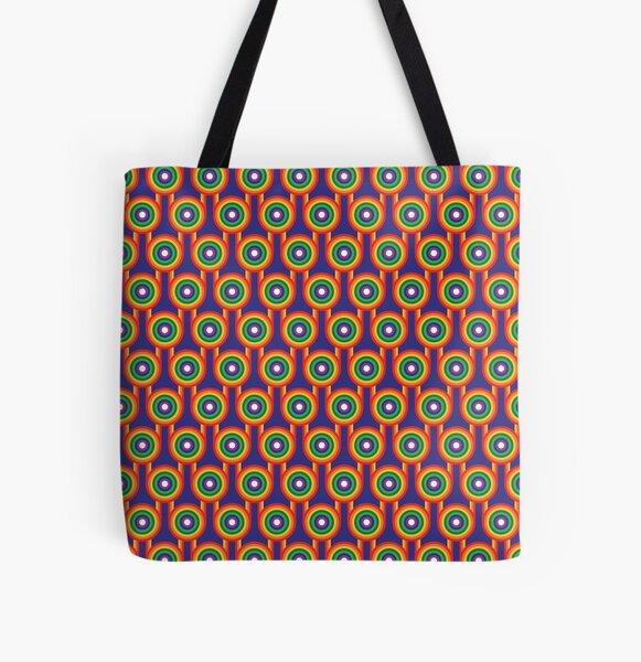 Scandi Midcentury Modern Retro Geometric Rainbow Blue Pattern All Over Print Tote Bag