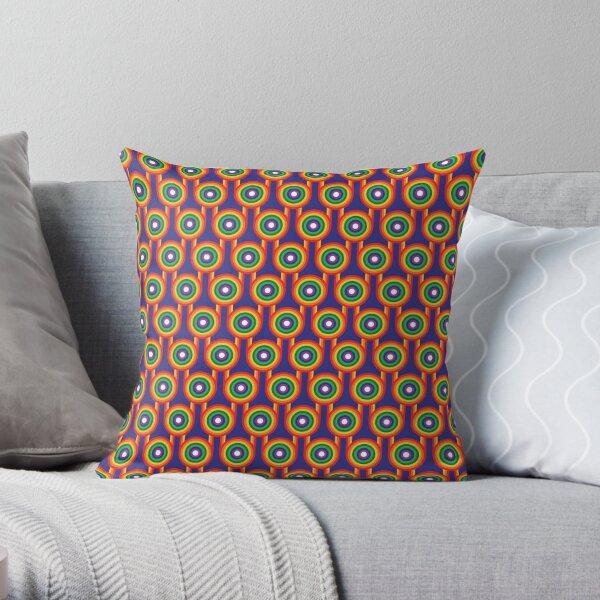 Scandi Midcentury Modern Retro Geometric Rainbow Blue Pattern Throw Pillow