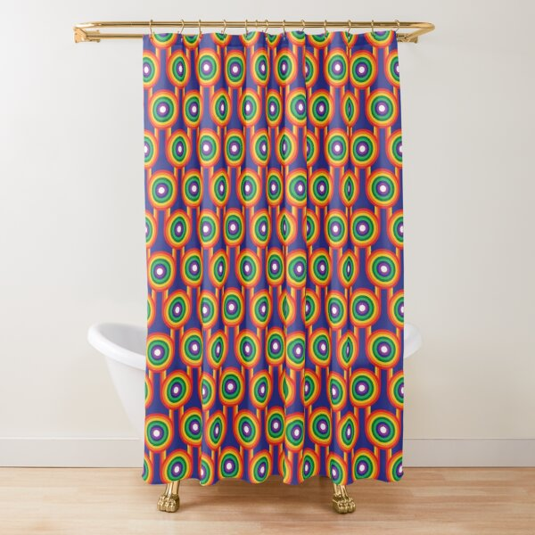Scandi Midcentury Modern Retro Geometric Rainbow Blue Pattern Shower Curtain