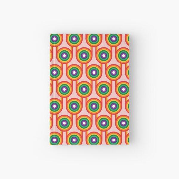 Scandi Midcentury Modern Retro Geometric Rainbow Pink Pattern Hardcover Journal