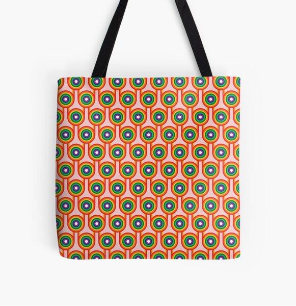 Scandi Midcentury Modern Retro Geometric Rainbow Pink Pattern All Over Print Tote Bag
