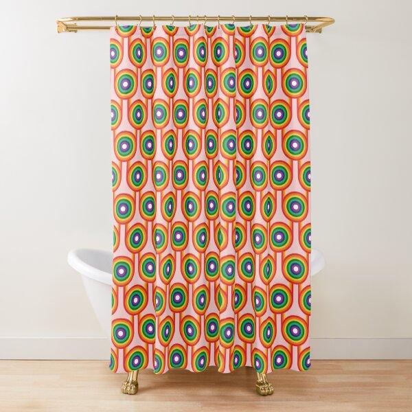 Scandi Midcentury Modern Retro Geometric Rainbow Pink Pattern Shower Curtain