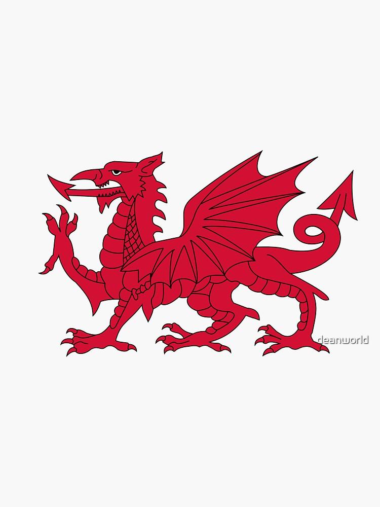 Red Welsh Dragon - Flag of Wales - Sport T-Shirt Sticker Bedspread Duvet by deanworld