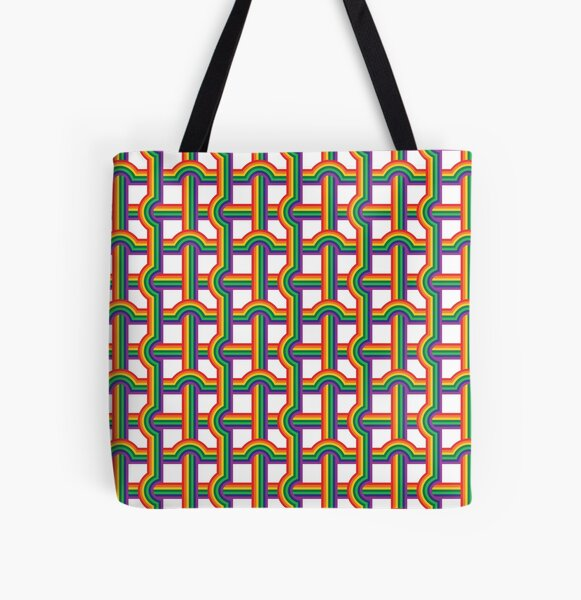 Scandi Midcentury Modern Retro Geometric Rainbow Grid White Checks Pattern All Over Print Tote Bag