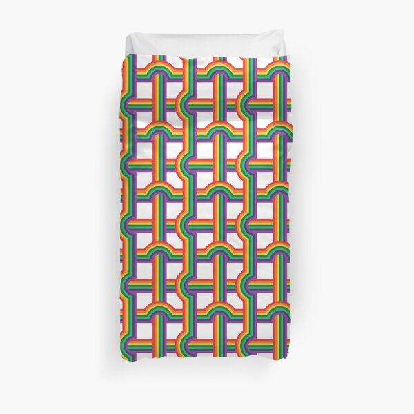 Scandi Midcentury Modern Retro Geometric Rainbow Grid White Checks Pattern Duvet Cover