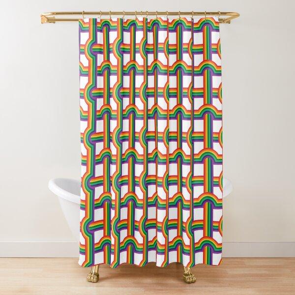 Scandi Midcentury Modern Retro Geometric Rainbow Grid White Checks Pattern Shower Curtain