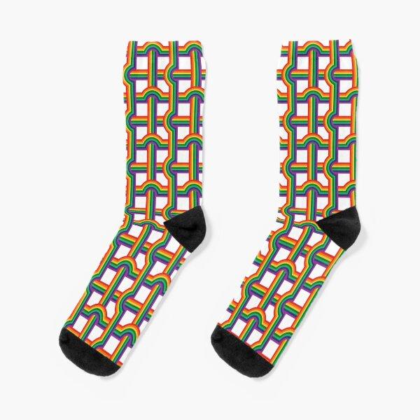 Scandi Midcentury Modern Retro Geometric Rainbow Grid White Checks Pattern Socks