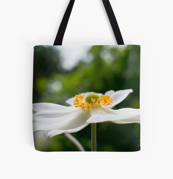 White Petals All Over Print Tote Bag
