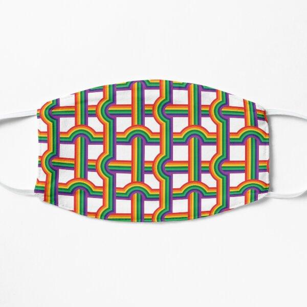 Scandi Midcentury Modern Retro Geometric Rainbow Grid White Checks Pattern Mask