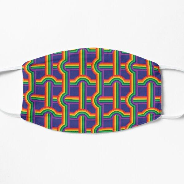 Scandi Midcentury Modern Retro Geometric Rainbow Grid Blue Checks Pattern Mask