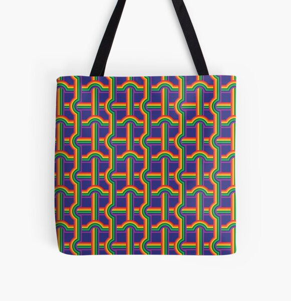 Scandi Midcentury Modern Retro Geometric Rainbow Grid Blue Checks Pattern All Over Print Tote Bag