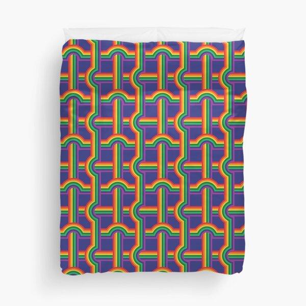 Scandi Midcentury Modern Retro Geometric Rainbow Grid Blue Checks Pattern Duvet Cover