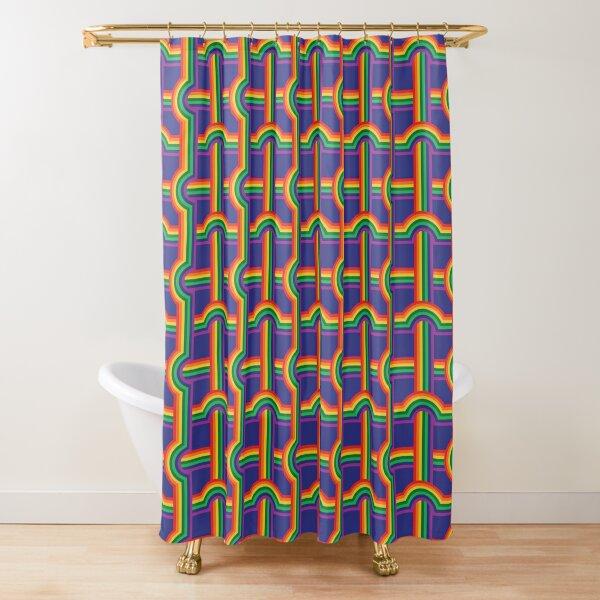Scandi Midcentury Modern Retro Geometric Rainbow Grid Blue Checks Pattern Shower Curtain
